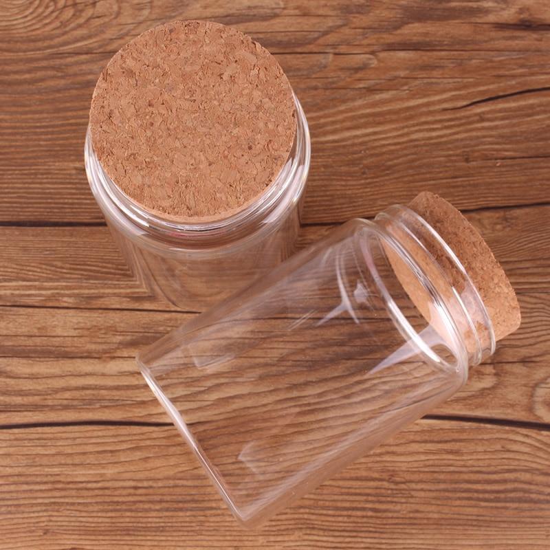 Bouteilles transparentes en verre avec bouchon en liège, 78x120x62mm 400ml, bocaux vides pour épices aliments, noix, cadeau, flacons artisanaux