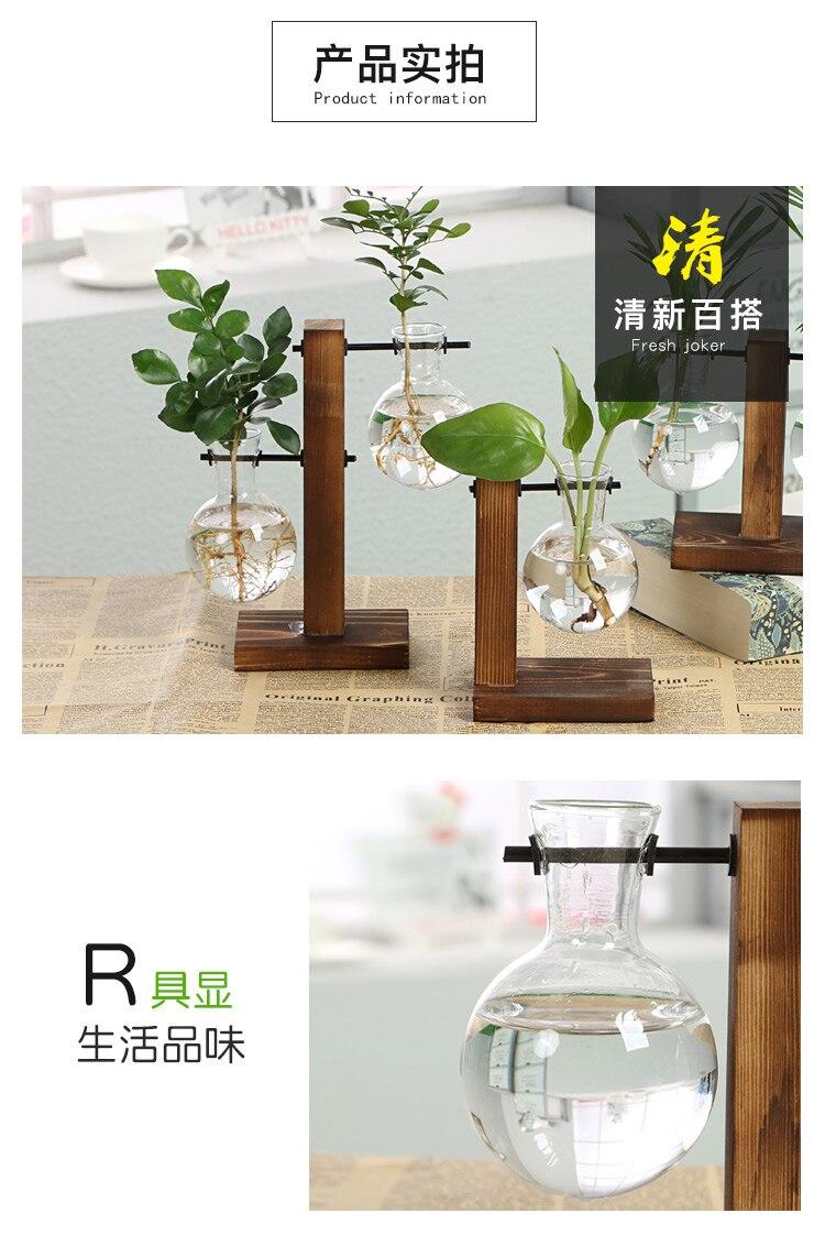 Vase à plantes hydroponiques Vintage Terrarium, dispositif Transparent avec cadre en bois et plantes pour table, dispositif pour décorer la maison