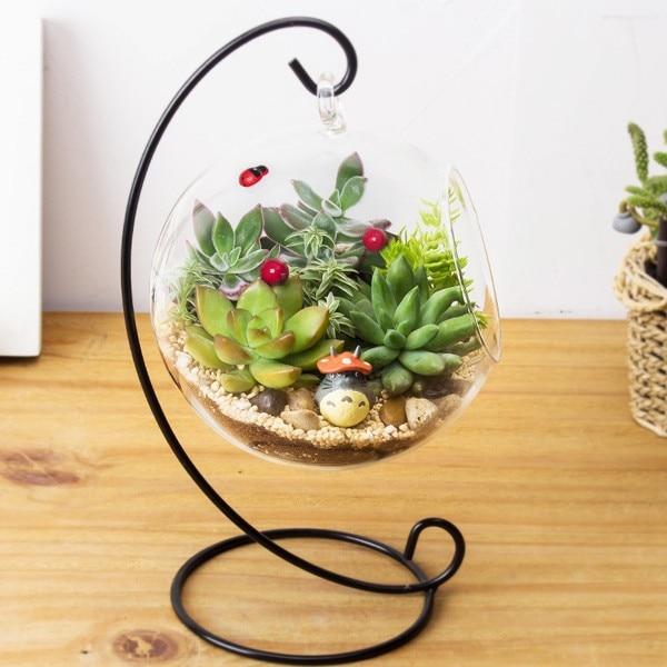 Conteneur Terrarium en cristal sans Vase en boule de verre 12 pouces 30cm, support en fer, décoration de la maison
