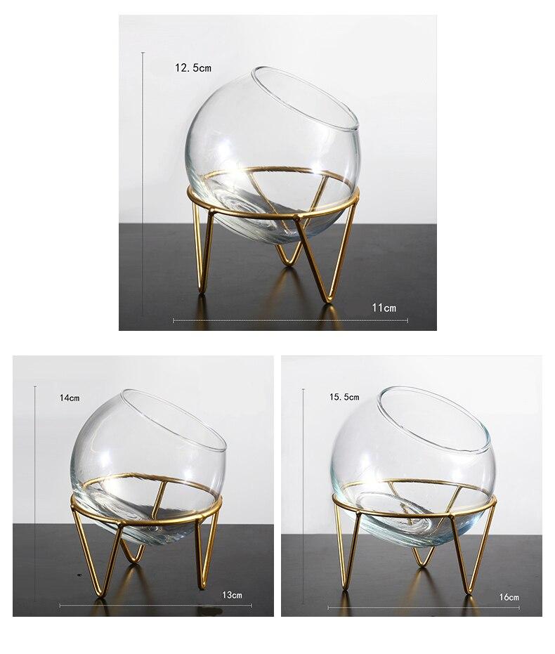 Nordique décoration de la maison verre Vase Terrarium chandelier salon décoration Vases à fleurs Transparent hydroponique Cander Hoder