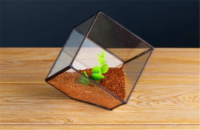 Ensemble Terrarium en verre soudé en forme de Cube, Vase créatif en verre, pots de fleurs pour décoration de jardin et de mariage