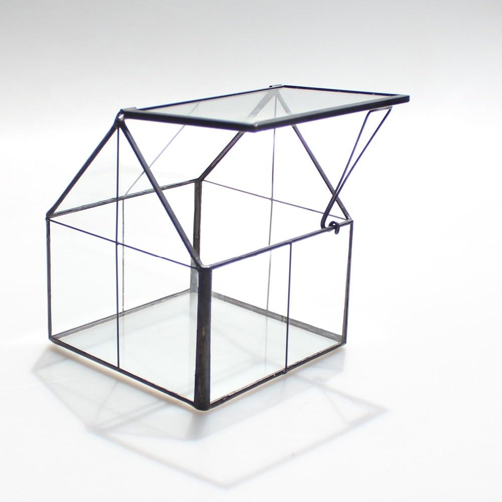 NCYP-Vase moderne de Terrarium en verre en cuivre noir avec grille géométrique, accessoires de décoration pour la maison